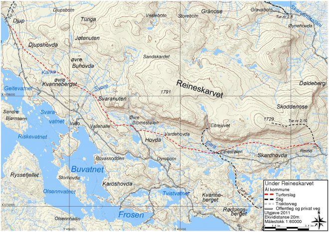 reineskarvet kart 1.10 Langs foten av Reineskarvet reineskarvet kart